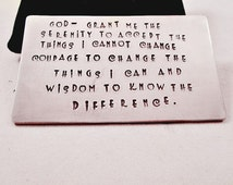 Hand Stamped Wallet Card Insert / Serenity Prayer / Recovery / Sobriety Date / Courage / Wisdom / Customized AA Gift / Custom Made
