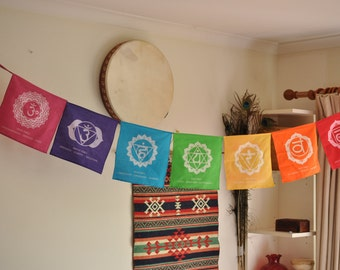 Chakra Flags - Chakra banner - Handmade - Fabric - chakra wall art - Sacred Geometry - Chakra Art - Yoga Gift - yoga art - yoga decor.
