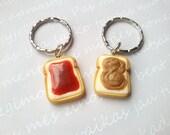 BFF Peanut butter & jelly keychain, sandwich charm, minature food jewelry, food keychain, best friend keychain, friendship necklace