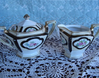 1920's Nippon Hand Painted Vintage Creamer and Sugar Bowl with Lid - Black Gold and Floral on a White and Cream Backround