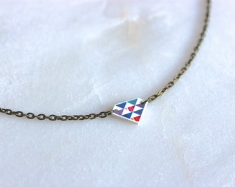 Triangle Necklace with Antique Brass Chain: Purple, Magenta and Blue