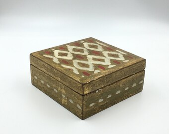 Florentine Box, Gold Box, Vintage Trinket Box, Hand Carved Wooden Box, Made in Italy, Vintage Florentine Storage