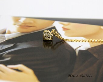 Tiny Gold Diamond Necklace, Tiny Cubic Zirconia Necklace, Diamond Shape Necklace , Diamond Pendant Necklace