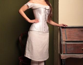 Victorian Corset, White 1880s Corset, 19th century Corset