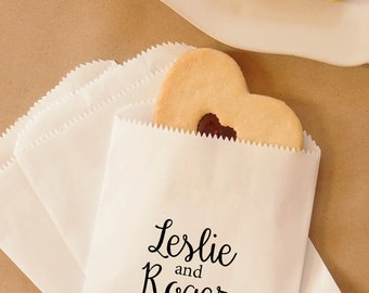 Wedding Cookie Bags, Hot Pretzel Bags, Party Favors, Candy Buffet, Dessert Table, Treat Bags - Personalized - Coated, Grease Resistant