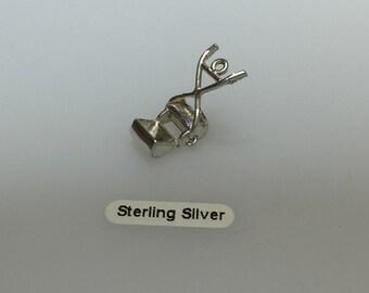 Sterling Silver Vintage Lawnmower Charm