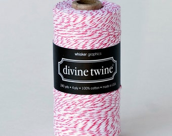 Divine Twine in Raspberry- (240 yds) Bright Pink and White