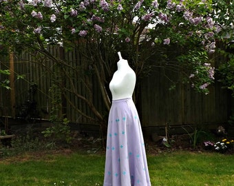 Lilac Linen Maxi Skirt, Full Circle Skirt, Floral Skirts, Lilac Skirts, Womens Skirts, Embroidered Skirt, Vintage Style Skirt, Maxi Skirts.