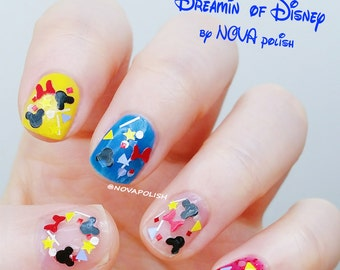 Dreamin' of Disney by NOVA polish - mickey nail polish, disney nail polish, disneyland, Mickey Mouse nail, glitter topper,minnie glitter