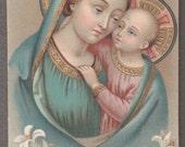 Mater Boni Consilii  -  Virgin Mary Antique Gold Print French Holy Card Catholic image Religious ephemera