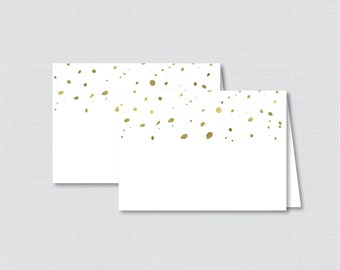 Printable White and Gold Bridal Shower Food Tent Cards - Modern White and Faux Gold Foil Bridal Shower Food Labels OR Place Cards - 0010-G