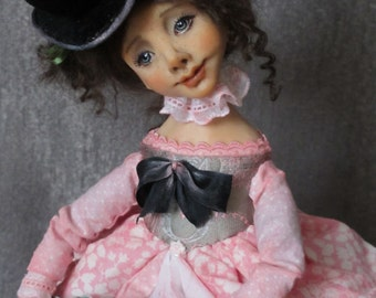 "OOAK art doll ""Tina and horse"""