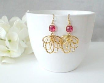 Fuchsia Pink Glass And Gold Feather Dangle Earrings
