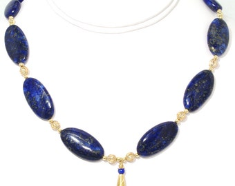107 - Large Blue Lapis and Gold necklace