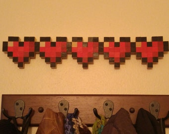 Legend of Zelda/Minecraft Pixel Life Bar Wall Art