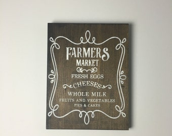 Farmer's Market Sign-- Farmhouse Sign-- Rustic Sign-- Hand Painted Sign-- Farm Sign-- Kitchen Sign-- Kitchen Decor