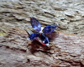 925 sterling silver, genuine, natural, high quality, faceted Iolite butterfly ring. UK size N / US 6.5. International shipping.  *151*