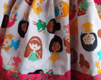 Twirly Skirt~Multicultural Faces~with Matching Headband