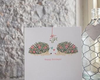 Christmas Hedgehog Happy Holidays Hedgehog Christmas Tree greetings card