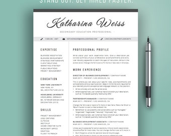 Resume Template Modern, CV Template, Instant Download, Word, Professional Resume Design, Teacher Resume, Cursive, Black and White, Mac or PC