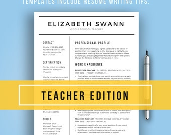 Teacher Resume Template For Word | Free Cover Letter + Writing Tips, Teacher  Resume,  Resume Template Education
