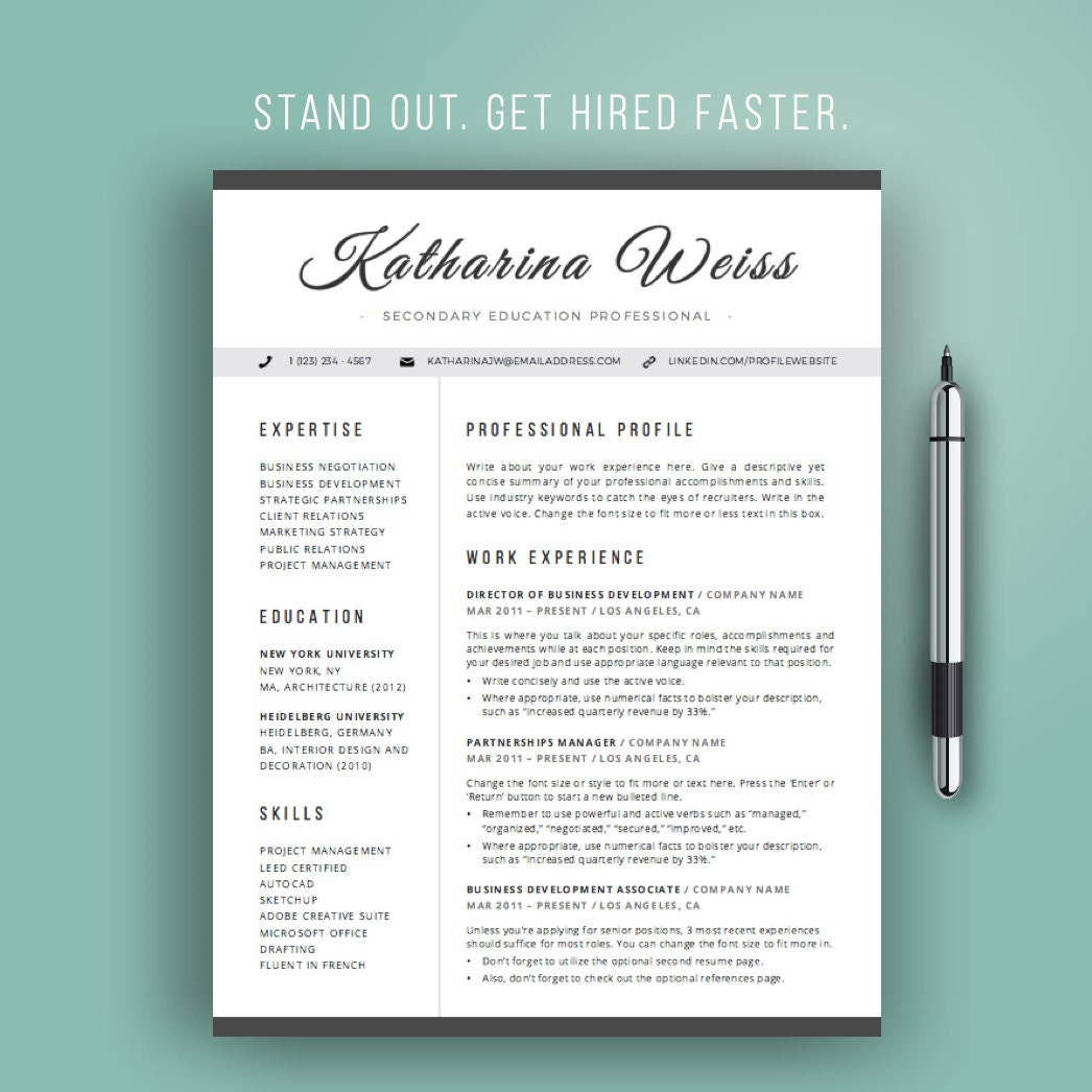 resume design resume template modern cv template instant word professional resume design teacher resume cursive black and white mac or pc