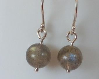 Simple sterling silver and labradorite drop earrings