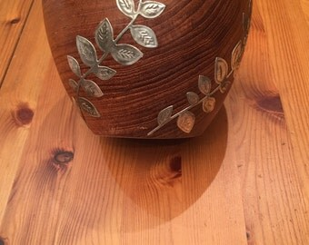 Wooden Bowl with Pewter Leaf Design
