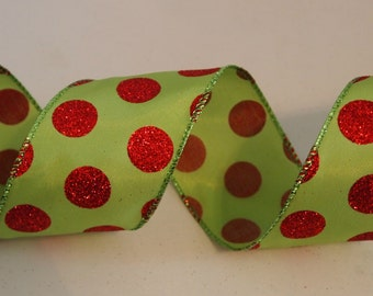 "5 Yards Green Red Polka Dot Wired Ribbon Christmas Wreath Lantern Bow Floral Home Decor 2 1/2"" wide 5 yds"