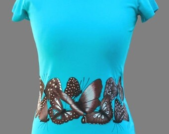 Hand painted T-shirt,Butterfly,hand made t shirt,present for woman,T shirt for girl,original,unique t shirts,painting,paint,made to order