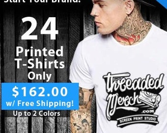24 Custom Screen Printed T Shirts