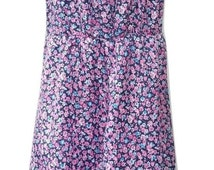 Vintage Sundress in Blue and Pink Floral Size 16 - 1980's - Very Good condition - Free Postage - reduced international postage