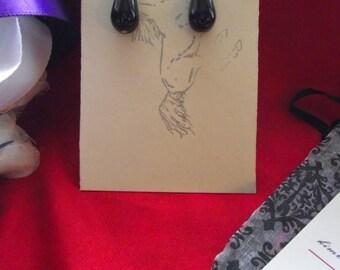 E-0548 - Black Onyx Vintage Glass Teardrop Earrings