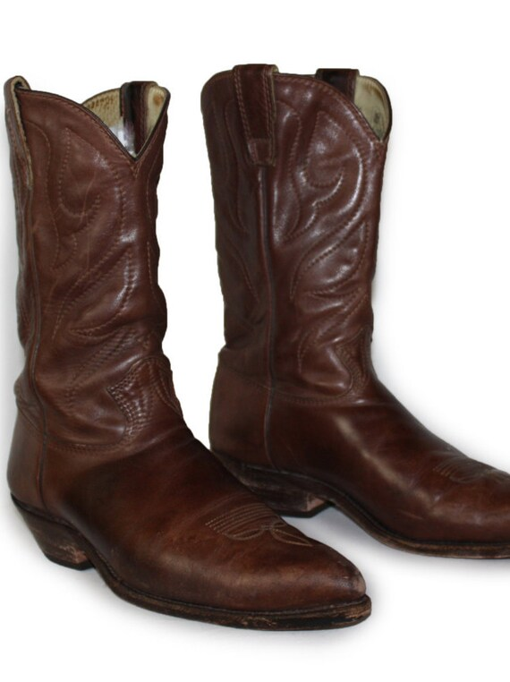 vintage mens cowboy boots stewart handmade leather boots 12 b