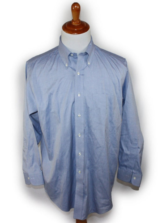 Vintage brooks brothers men 39 s shirt long sleeve blue for Brooks brothers non iron shirt review
