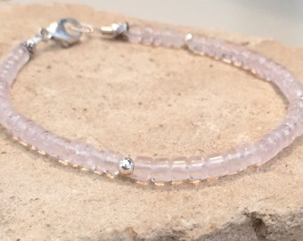 Pink bracelet, rose quartz bracelet, sterling silver bracelet, sundance style bracelet, gemstone bracelet, gift for her, gift for wife