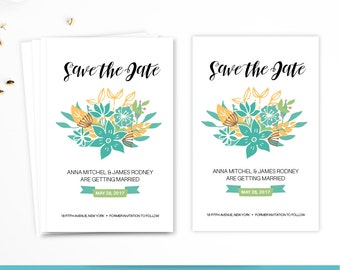Save the Date Card Wedding Card Floral Wedding Card Wedding Invitation Printable Wedding Card
