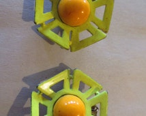 Vintage Yellow and Orange Hexagonal Flower Shaped Clip On Earrings