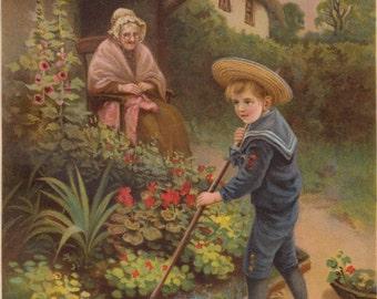 Victorian Boy in Sailor Suit Gardening in Flower Garden Floral Botanicals Art Print Antique Lithograph 1905