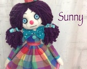 SUNNY OOAK Ragdoll 18'' Clown Funky Goth Tattered Cloth soft art doll Handstitche Collection Signed and Numbered