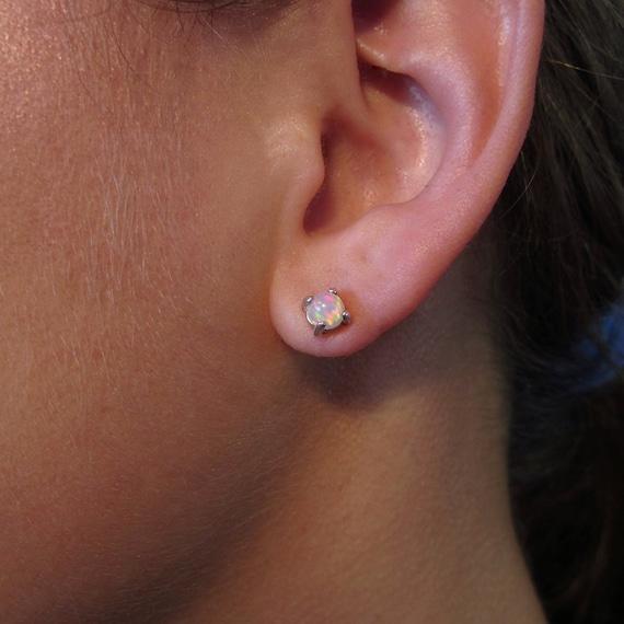 Genuine Opal Studs, Opal Earrings, Silver Studs, Gem Studs, Post Earrings, Round Opals, Solitaire Opal, Elegant Studs, White Opal, Rainbow