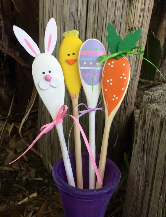 wooden spoon flower craft wooden easter kitchen spoons carrot bunny egg by 5781