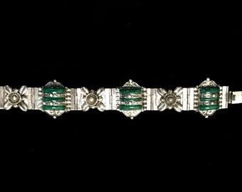 Vintage Signed Mexican Silver and Green Stone Bracelet