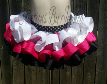 Black, pink, and white ribbon tutu..white ribbon tutu..pink ribbon tutu..black ribbon tutu..birthday ribbon tutu..