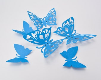 Blue Butterfly Wall Art - 3D Butterfly Wall Decor - Paper Butterflies - Lace Paper Butterfly - 3D Cut Paper Butterflies - Baby Room Decor
