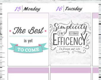 Set of Inspirational Quotes Full Boxes Stickers To Use With Erin Condren Planner