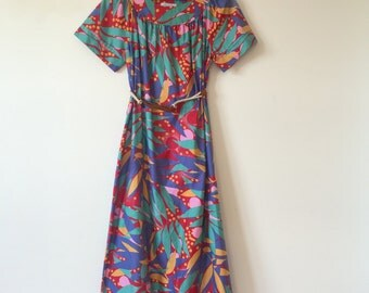 vintage tropical pattern long dress