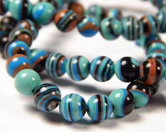 15 Inch Strand - 6mm Blue Striped Turquoise Beads - Synthetic Turquoise - Gemstone Beads - Jewelry Supplies