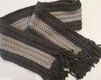 "Crocheted Scarf, Men's Scarf, Grey Winter Scarf, 70""x 7"" adult size"
