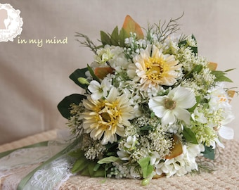 Bridal bouquet , Artificial,Silk bouquet , Wedding bouquet , Rustic bouquet , Garden bouquet , Bouquet with Groom 's Boutonniere , No30_002G